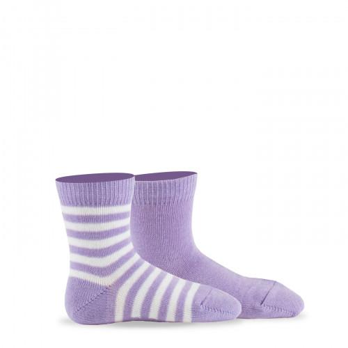 Lot de 2 paires de chaussettes rayures + unies en pur coton