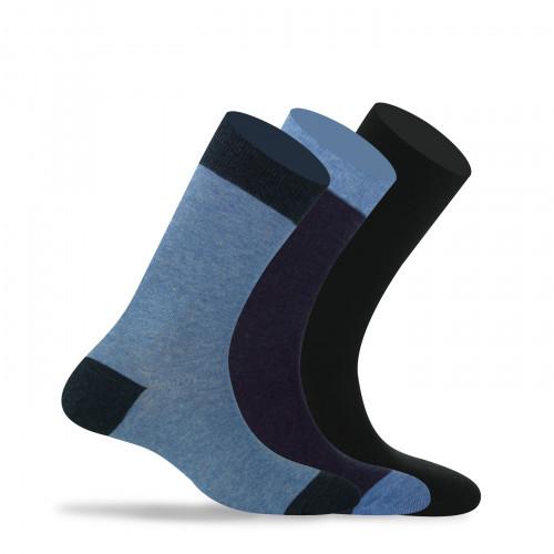 Lot de 3 paires de chaussettes talons pointes contrastés anti-odeur