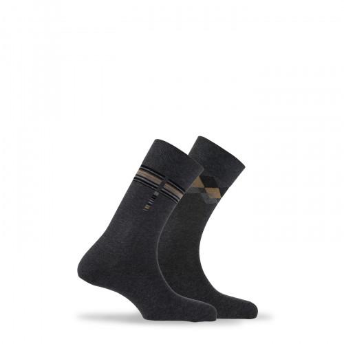 Lot de 2 paires de chaussettes fantaisies en coton fabriquées en France