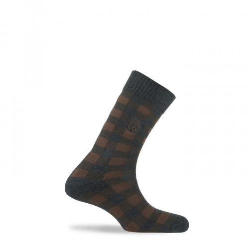 Chaussettes à carreaux surbrodées en coton