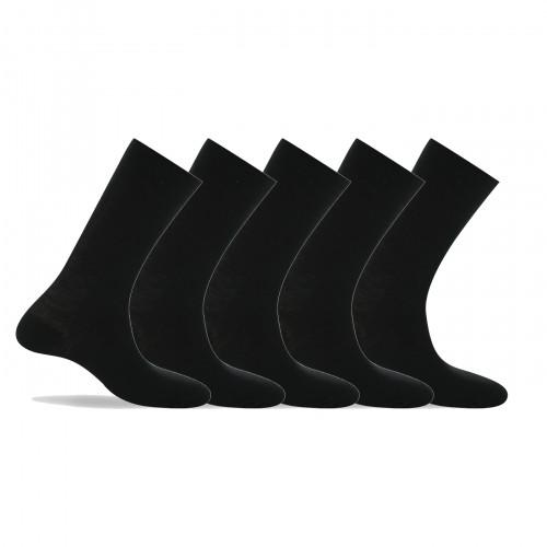 Lot de 5 paires de mi-chaussettes noires en laine et coton